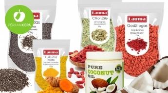 Superfood jeb superprodukti Tavai veselībai un gardām maltītēm: čia sēklas, kurkuma, koksriekstu milti u.c.