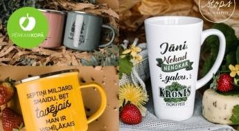 Radīts Latvijā! Dažādas krūzītes u.c. trauki Jāņu dienai un kāzu laikam no STOPS IDEJU KRŪZES