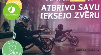 """Elpu aizraujoši braucieni ar drifta triciklu """"Drifta Hallē"""" (4 x 10 min)"""