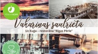 """Trīs kārtu vakariņas un izbrauciens ar kuģi-restorānu """"Rīgas Pērle"""" 1 personai"""