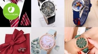 IZPĀRDOŠANA! Sieviešu un vīriešu rokas pulksteņi dažādām gaumēm, vīriešu šlipses un tauriņi + rotaļu pulksteņi bērniem un LCD tāfeles