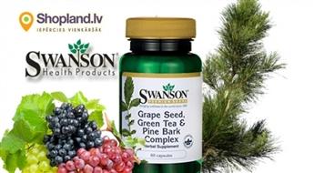 SWANSON: Vīnogu kauliņu, Zaļās tējas un Priežu mizas komplekss (60 kapsulas)