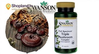 SWANSON: Šitaki, Reiši, Maitake ekstrakts (60 kapsulas)