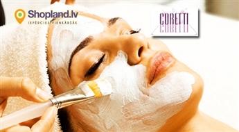 CORETTI: 11 etapu sejas procedūra: attīrīšana + liftinga masāža + darsonvalizācija + sejas maskas