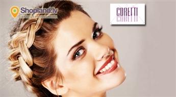 CORETTI: sievišķīga frizūra ar franču bizēm vai bizītēm