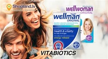 Vitabiotics: vitamīni WELLWOMAN, WELLMAN visai ģimenei (30 tabletes)
