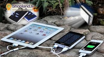 Solar Power 30000mah, power banka ar saules baterijām+Led lukturīts!