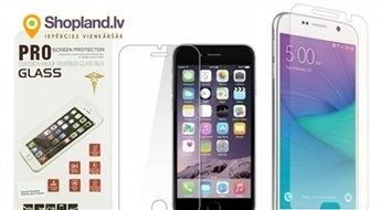 Ekrāna aizsargplēve-stikls priekš iPhone un Samsung telefoniem (0.26mm/2.5D)
