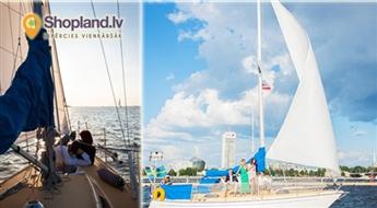 2h brauciens ar jahtu pa Daugavu un Rīgas jūras līci līdz 8 cilvēku kompānijai vai 1 dienas īre